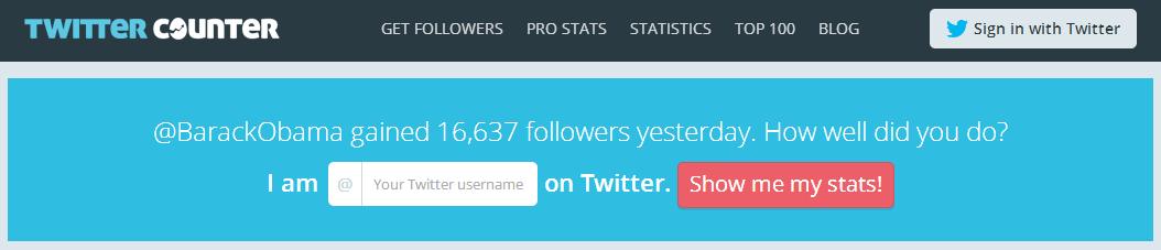 Twitter Statistics   Twitter Counter